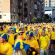 kiev, ukraine - june 11: cheering sweden fans go to stadium befo — Stock Photo