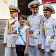 KYIV, UKRAINE - MAY 19: Three cadets with drums  flirt with girl — Stock Photo