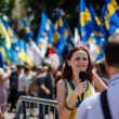 ������, ������: Journalist making report with protestors of Rise up Ukraine