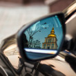 Reflection of the Orthodox Church in the car mirror. — Stock Photo