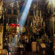 Stock Photo: Interior of old orthodox church in Ukraine, dark interior with r