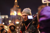 KIEV (KYIV), UKRAINE - DECEMBER 4, 2013: Unidentified journalist — Stok fotoğraf