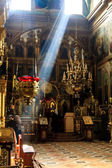 Interior of old orthodox church in Ukraine, dark interior with r — Stock Photo