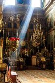 Interior of old orthodox church in Ukraine, dark interior with r — Stock Photo