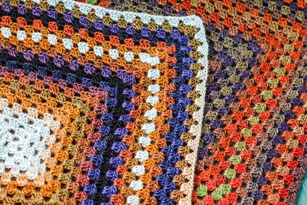 Ganchillo hecho a mano afgano multicolor manta de cuadros - Mantas de crochet a cuadros ...