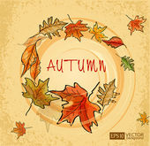 Vector vintage background with autumn leaves — Stock Vector