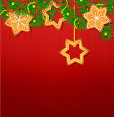 Christmas vector background with sweets and Christmas tree on th — Stock Vector