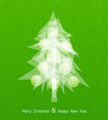 Vector Christmas tree with balls on a green background — Stock Vector