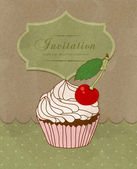 Vector vintage greeting card with a birthday cake — Vector de stock