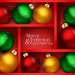 Vector holiday background with red shelf, and New Year's balls o — Stock Vector