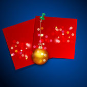 Vector holiday background with a red card and a New Year's ball — 图库矢量图片