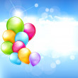 Vector holiday background with multi-colored balloons flying in — Stock Vector #26779185