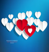 Vector background with white paper hearts — Stock Vector