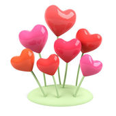 Heart flowers. 3d image. — Stock Photo