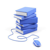Computer mouse and books - e-learning concept. 3d image. — Stock Photo