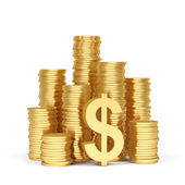 Stacks of gold coins on a white background. — Stock Photo
