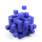 Abstract 3d illustration of cube assembling from blocks — Stock Photo