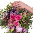 Stock Photo: Bouquet, hand and ring