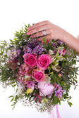 Bouquet, hand and ring — Stock Photo