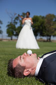 Golf and wedding — Stock Photo