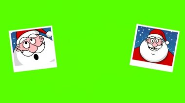 Photo frames with Santa Claus. Green screen — Stock Video