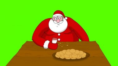 Big fat Santa Claus eating cookies and drinking milk. Green screen — Stock Video