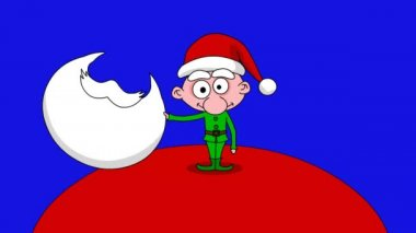 Joke - at first big santa and next small elf. Blue screen — Vídeo de Stock