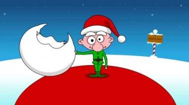 Grap - op de eerste grote santa en volgende kleine elf. — Stockvideo