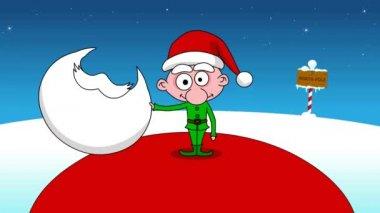 Vtip - na první velké santa a další malé elf. — Stock video