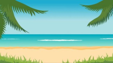 Animation of tropical landscape - beach, sea, waves, palms. — Стоковое видео