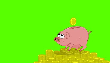 Pink pig money box and falling coins. Green screen — Stock Video