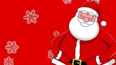 滑稽笑着圣诞老人和不同的排序的雪花。红色背景 — 图库视频影像