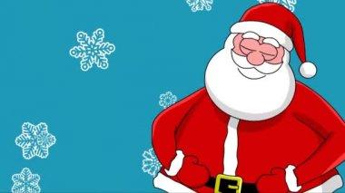 滑稽笑着圣诞老人和不同的排序的雪花。蓝色背景 — 图库视频影像