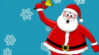 Funny Santa Claus with bell and different sort of snowflakes. Blue background — Stock Video