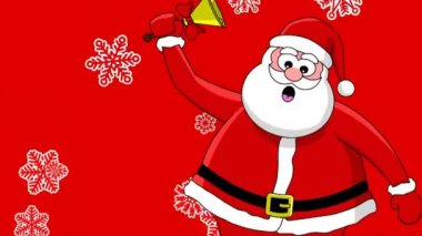 Funny Santa Claus with bell and different sort of snowflakes. Red background — Vídeo Stock