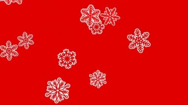 Different sort of snowflakes, effect snowfall. Red background — Stockvideo