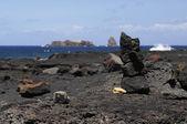 A small stone stack, Pico island coast. — Stock Photo