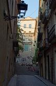Pohled z ulice girona, španělsko — Stock fotografie