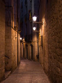 The medieval Girona by night, Northern Spain — Stock Photo