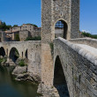 The medieval fortified bridge in Besalu, Spain. — Stock Photo