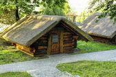 Traditional wooden cottage house in Skansen in Bedzin, Poland  — Stock Photo