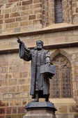 Johannes Honterus Statue in Brasov, Romania. He was a renaissance humanist, theologian and the main Lutheran reformer in Transylvania. — Stock Photo
