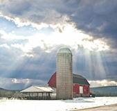 Barn with sun rays — Stock Photo