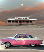 Classic car and diner — Stock Photo