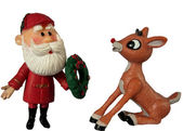 Santa and rudolph — Stock Photo
