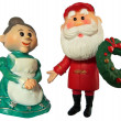 Santa claus and mrs claus figures — Stock Photo