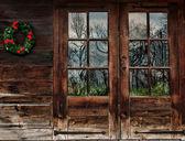 Rustic wood doors — Stock Photo