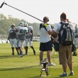 Filming NY Jets training camp — Stock Photo