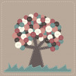 Stock Vector: Fabric tree with button treetop