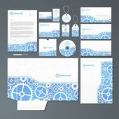 Stationery set with gears — Stock Vector